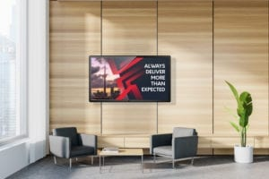 Franchise digital signage for corporate office and welcome TV displays in HQ lobby