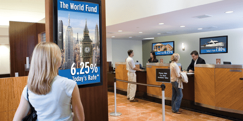 bank digital signage solutions for financial institutions
